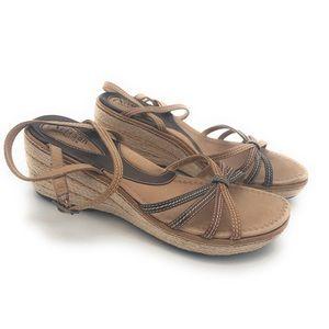 Clark's Wedge Espadrille Brown Sandals Women's 8M